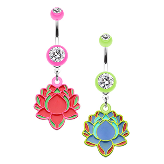 The Lotus Flower Dangly Belly Ring - Dangling Belly Ring. Navel Rings Australia.