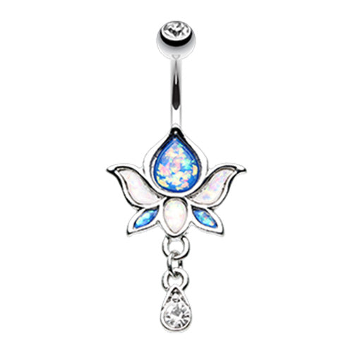 Saraswati Lotus Flower Navel Ring - Dangling Belly Ring. Navel Rings Australia.