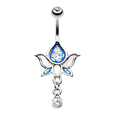 Dangling Belly Ring. Belly Rings Australia. Saraswati Lotus Flower Navel Ring