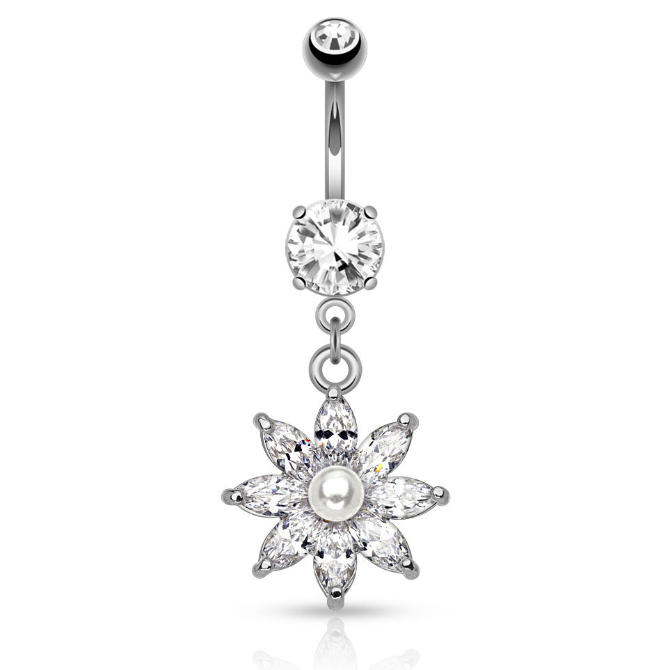 Lotus Pearl Navel Ring - Dangling Belly Ring. Navel Rings Australia.