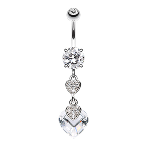Allure Duo Hearts Belly Button Ring - Dangling Belly Ring. Navel Rings Australia.
