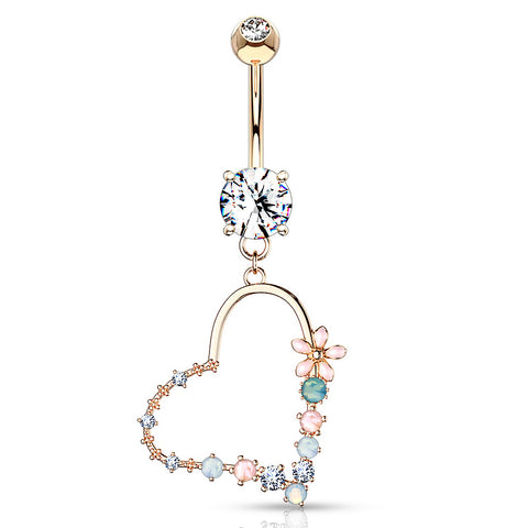 Dangling Belly Ring. Belly Bars Australia. Love Matrix Belly Dangle in Rose Gold