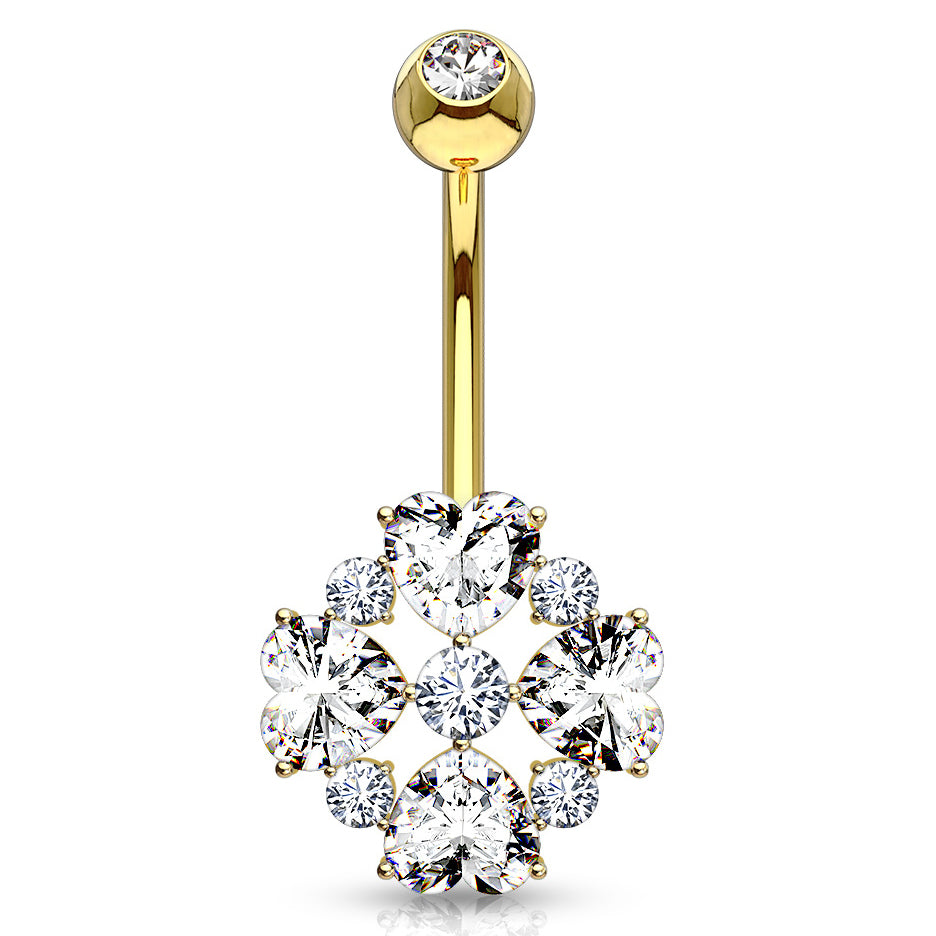 14K Gold Lovers Diamanté Belly Ring - Fixed (non-dangle) Belly Bar. Navel Rings Australia.