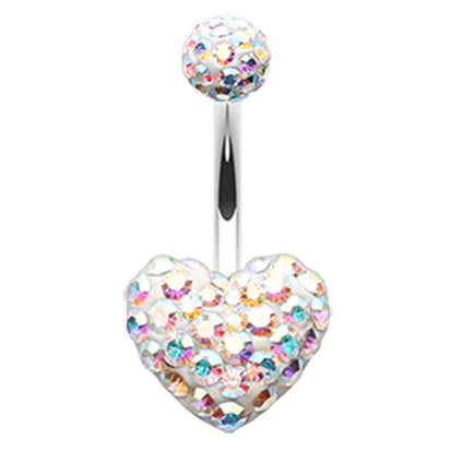 Motley™ Aurora Heart Belly Ring - Fixed (non-dangle) Belly Bar. Navel Rings Australia.