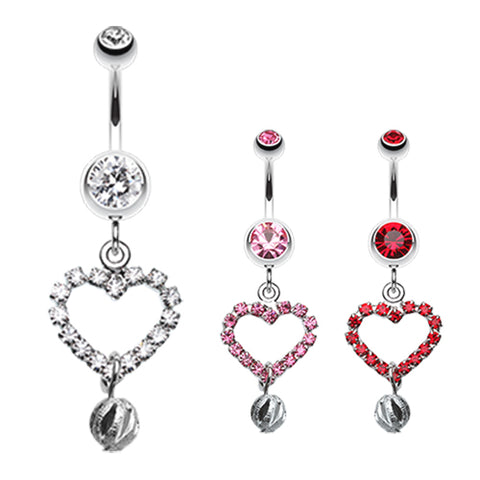 Dangling Belly Ring. High End Belly Rings. Boss Heart Belly Dangle