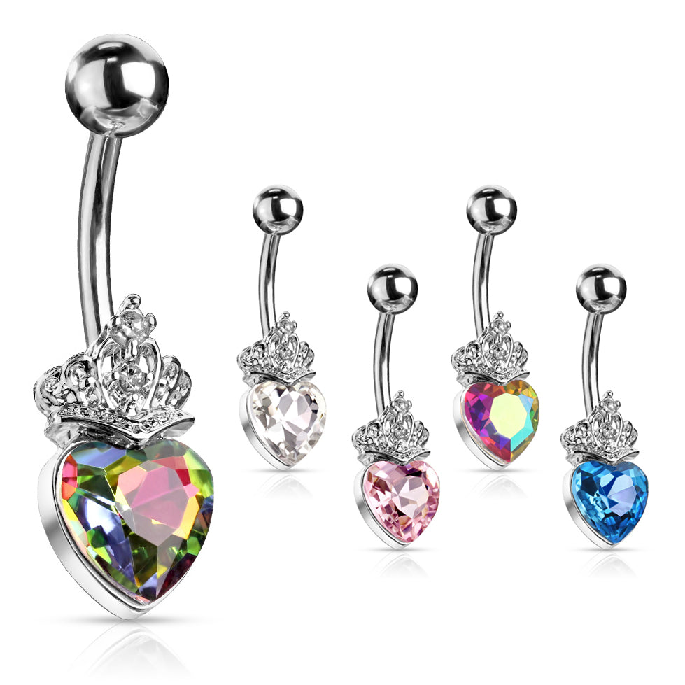 Love is King Belly Bar - Fixed (non-dangle) Belly Bar. Navel Rings Australia.