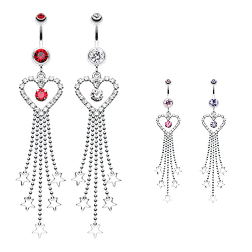 Mia Amore Star Drop Belly Button Ring - Dangling Belly Ring. Navel Rings Australia.