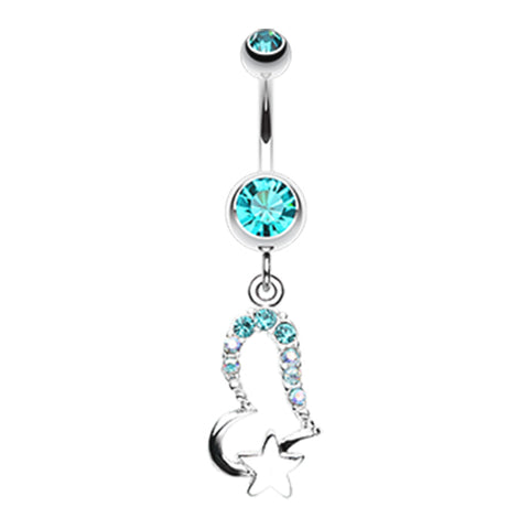 Aquamarine Lovers Starry Gaze Belly Dangle