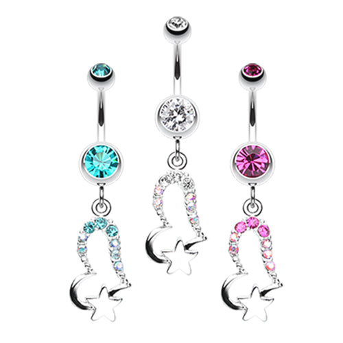 Lovers Starry Gaze Belly Dangle - Dangling Belly Ring. Navel Rings Australia.