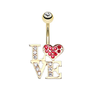 Love Statement Belly Ring in Gold - Fixed (non-dangle) Belly Bar. Navel Rings Australia.