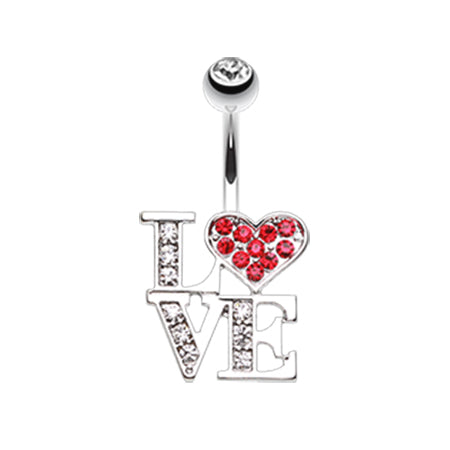 Love Statement Belly Ring - Fixed (non-dangle) Belly Bar. Navel Rings Australia.