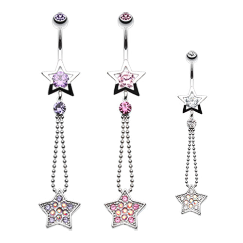 Lucky Star Belly Bar - Dangling Belly Ring. Navel Rings Australia.