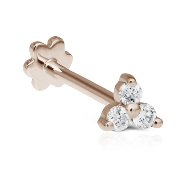 Diamond Trinity Threaded Stud Earring by Maria Tash in Rose Gold - Earring. Navel Rings Australia.