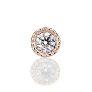 1.5mm Scalloped Set Genuine Diamond Threaded Stud Earring by Maria Tash in 14K Rose Gold. Flat Stud. - Earring. Navel Rings Australia.
