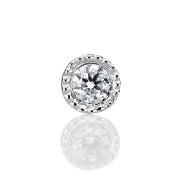 1.5mm Scalloped Genuine Diamond Threaded Stud Earring by Maria Tash in 14K White Gold. Flat Stud. - Earring. Navel Rings Australia.