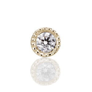 1.5mm Scalloped Set Genuine Diamond Threaded Stud Earring by Maria Tash in 14K Gold. Flat Stud. - Earring. Navel Rings Australia.