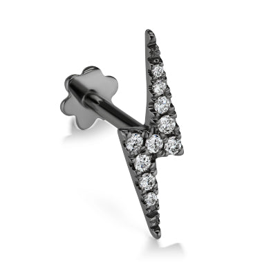 Earring. Belly Rings Australia. Authentic Lightning Bolt Diamond Earring by Maria Tash in 14K Black Gold. Flat Stud.