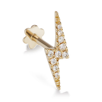 Earring. Cute Belly Rings. Authentic Lightning Bolt Diamond Earring by Maria Tash in 14K Gold. Flat Stud.