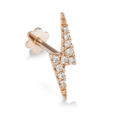 Earring. Shop Belly Rings. Authentic Lightning Bolt Diamond Earring by Maria Tash in 14K Rose Gold. Flat Stud.