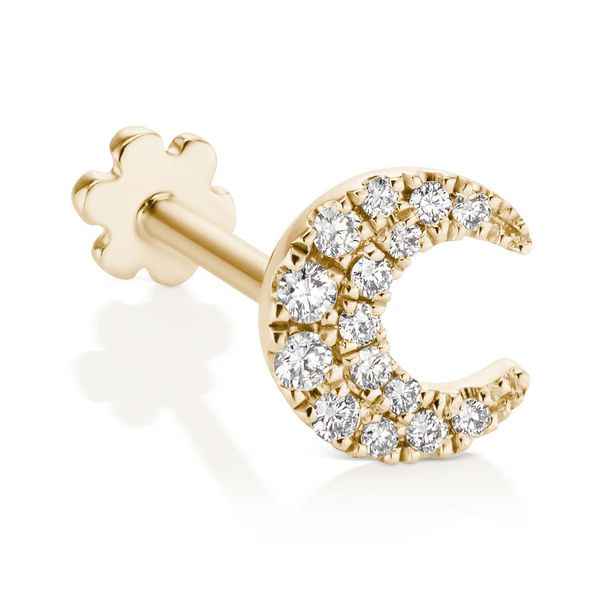 Diamond Moon Threaded Earring by Maria Tash in 18K Gold. Flat Stud. - Earring. Navel Rings Australia.