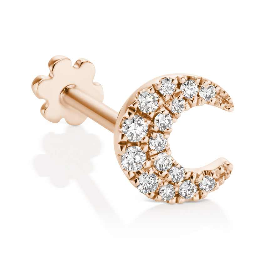 Diamond Moon Threaded Earring by Maria Tash in 18K Rose Gold. Flat Stud. - Earring. Navel Rings Australia.
