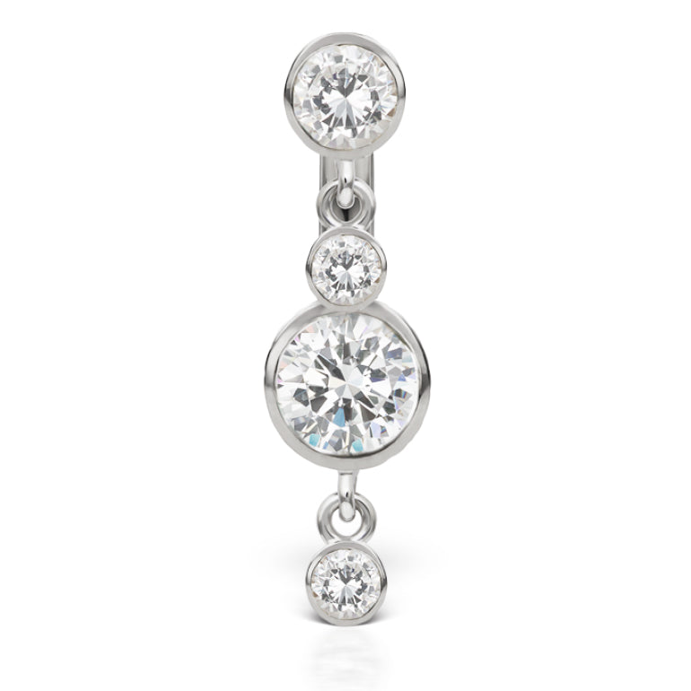 Designer Maria Tash 14K White Gold Belly Bar with Double Dangle - Dangling Belly Ring. Navel Rings Australia.