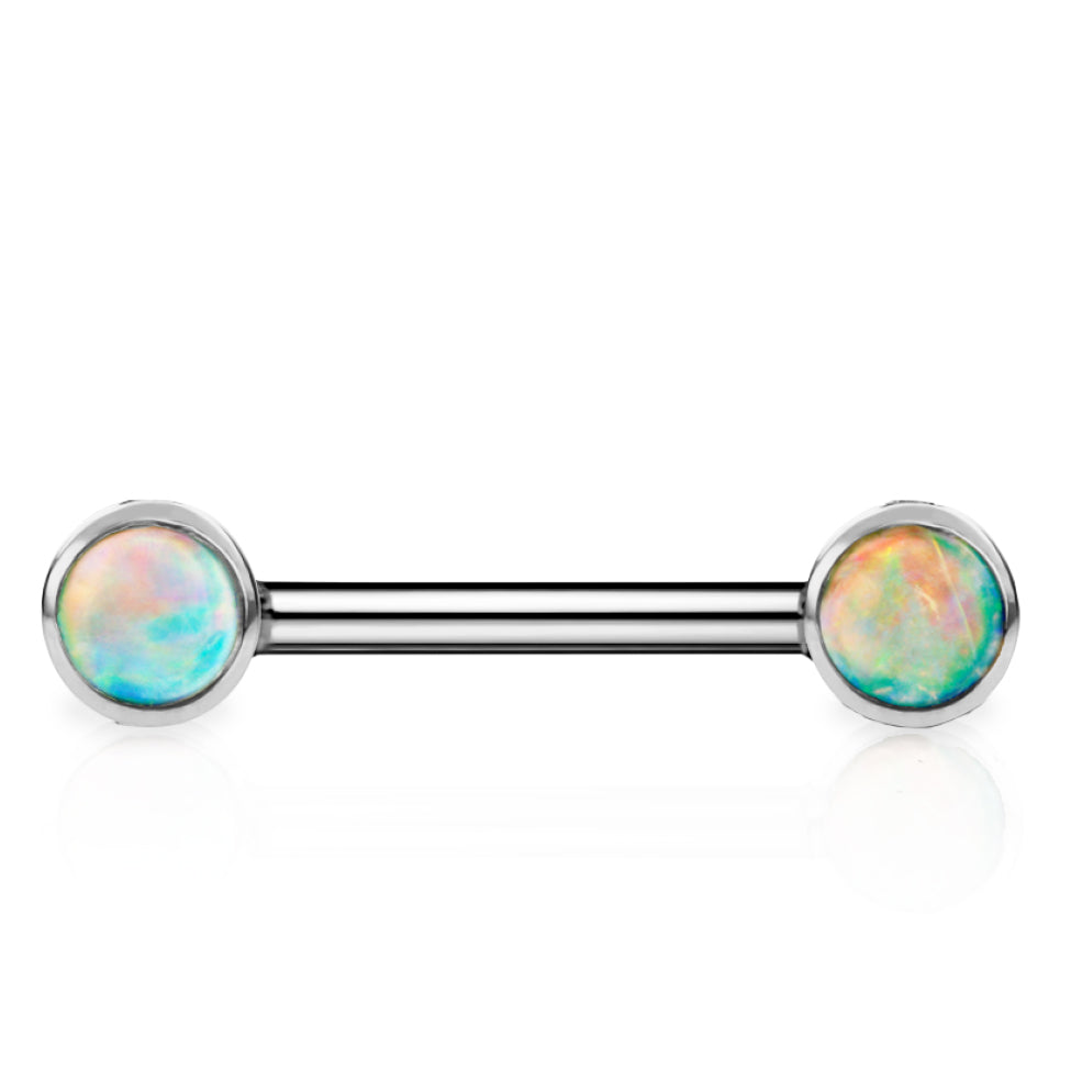 Maria Tash 3mm Natural Opal 14k White Gold Nipple Bar - Nipple Ring. Navel Rings Australia.