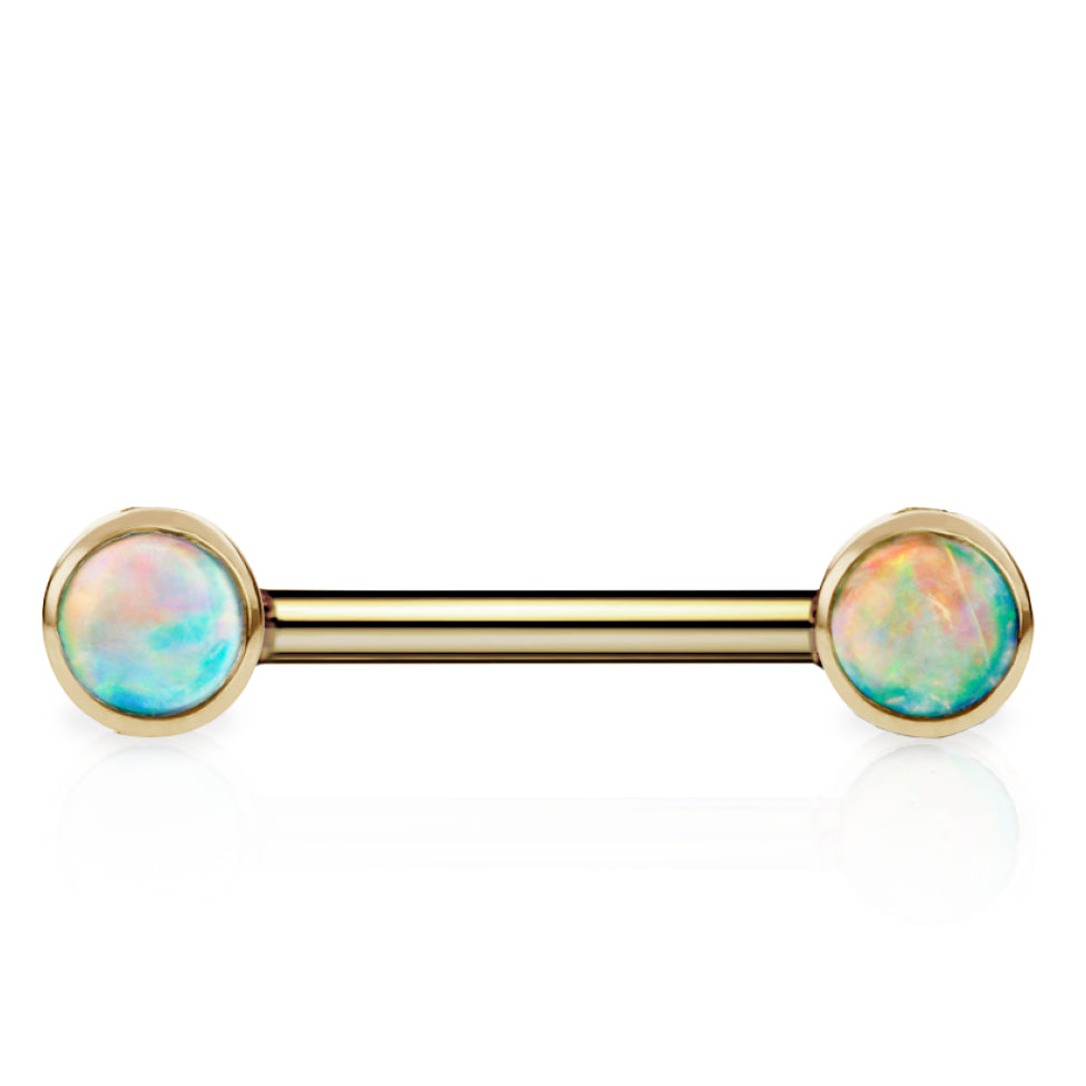 Maria Tash 3mm Natural Opal 14k Yellow Gold Nipple Bar - Nipple Ring. Navel Rings Australia.