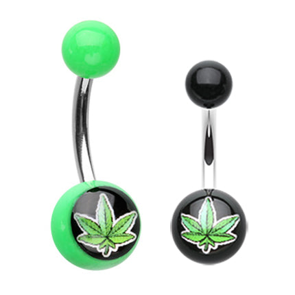 Marijuana Leaf Acrylic Navel Bar - Basic Curved Barbell. Navel Rings Australia.