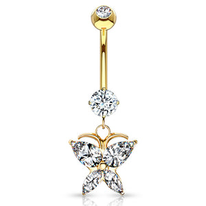 14K Gold Butterfly Belly Ring - Dangling Belly Ring. Navel Rings Australia.
