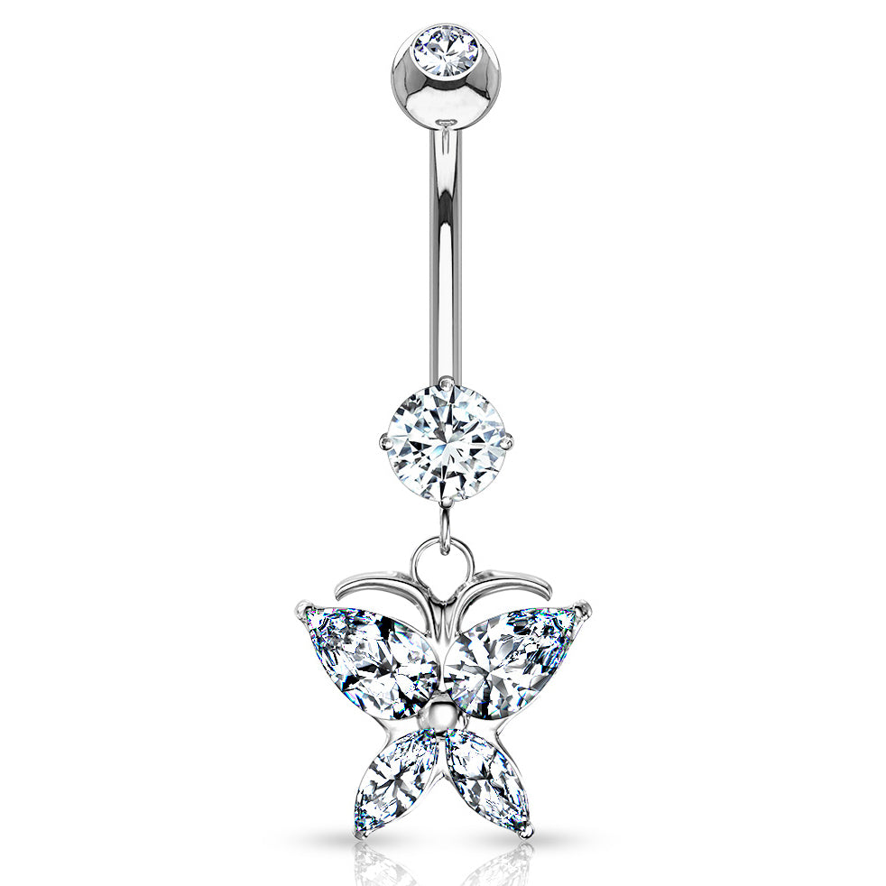 14K White Gold Butterfly Belly Ring - Dangling Belly Ring. Navel Rings Australia.
