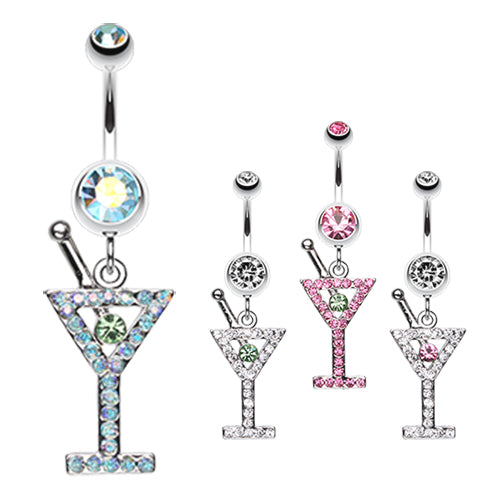 French Martini Belly Dangle - Dangling Belly Ring. Navel Rings Australia.