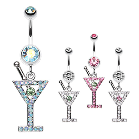 Dangling Belly Ring. Navel Rings Australia. French Martini Belly Dangle