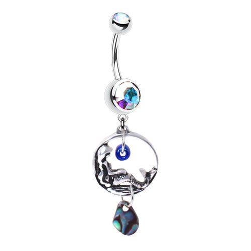 Chillin' Mermaid Belly Dangle with Abalone Drop - Dangling Belly Ring. Navel Rings Australia.