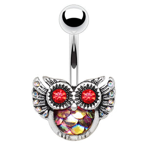 Mermaid Owl Belly Rings - Fixed (non-dangle) Belly Bar. Navel Rings Australia.