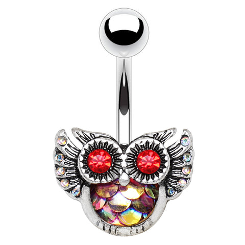 Fixed (non-dangle) Belly Bar. Belly Bars Australia. Mermaid Owl Belly Rings