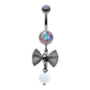 Aurora Midnight Mesh Bow Dangly Belly Ring - Dangling Belly Ring. Navel Rings Australia.