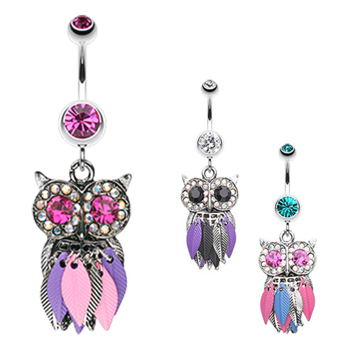 Metallic Feathered Owl Belly Bars - Dangling Belly Ring. Navel Rings Australia.