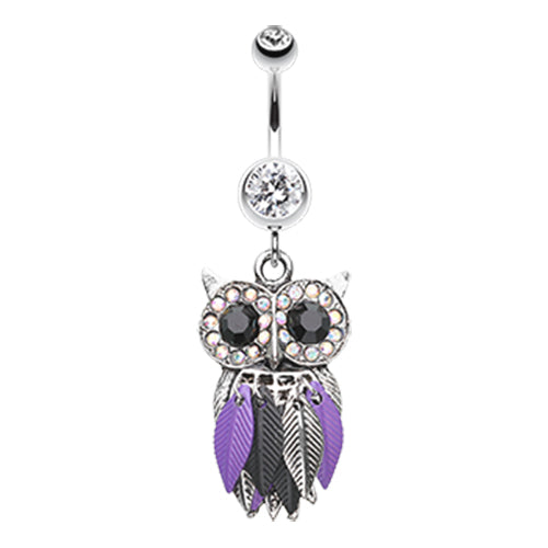 Dangling Belly Ring. Navel Rings Australia. Metallic Feathered Owl Belly Bars