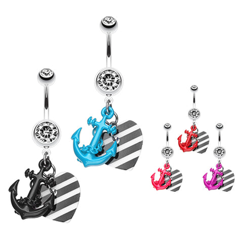 Dangling Belly Ring. Cute Belly Rings. Metallic Anchor Love Charms Belly Bar
