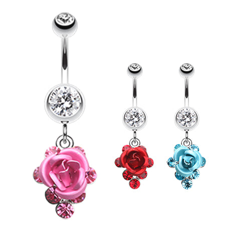 3D Metallic Rosé Belly Dangles - Dangling Belly Ring. Navel Rings Australia.