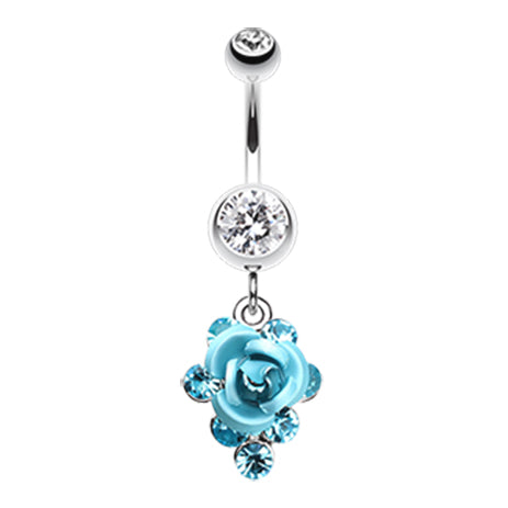 Dangling Belly Ring. Quality Belly Rings. 3D Metallic Rosé Belly Dangles