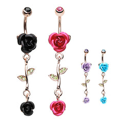 Metallic Roses Belly Dangle in 14K Rose Gold