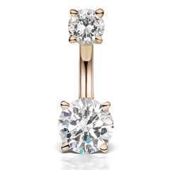 Middy Venus by Maria Tash 14K Rose Gold CZ Prong Solitaire Navel Ring