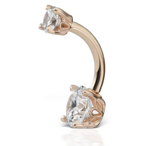 Middy Venus by Maria Tash 14K Rose Gold CZ Prong Solitaire Navel Ring - Basic Curved Barbell. Navel Rings Australia.