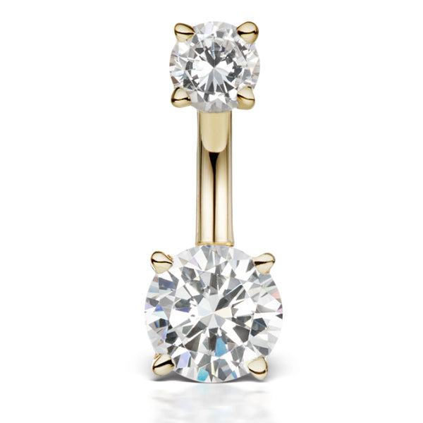 Middy Venus by Maria Tash 14K Yellow Gold CZ Prong Solitaire Navel Ring - Basic Curved Barbell. Navel Rings Australia.