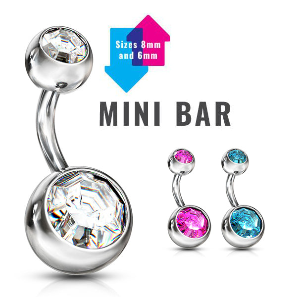 Mini Bar Belly Rings - Basic Curved Barbell. Navel Rings Australia.