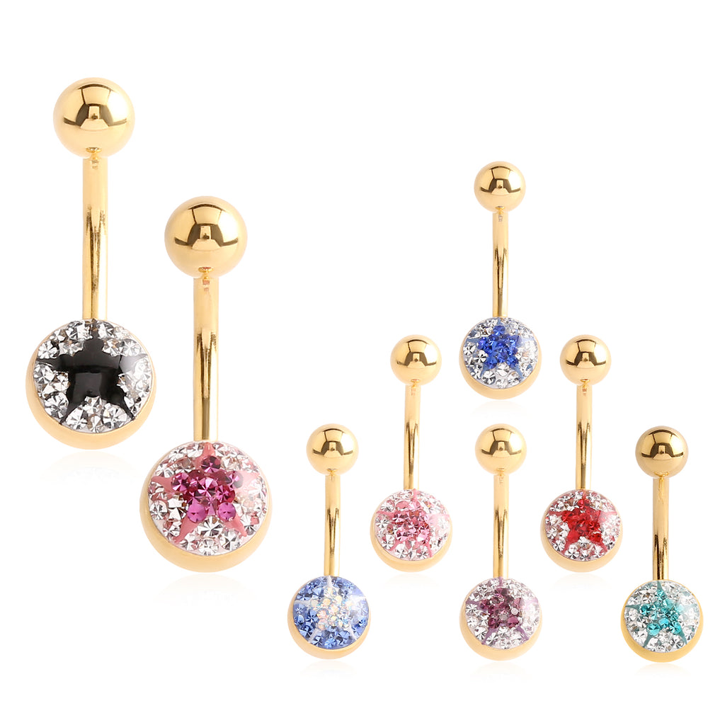 Minx Crystalline Star Gem Navel Ring - Basic Curved Barbell. Navel Rings Australia.