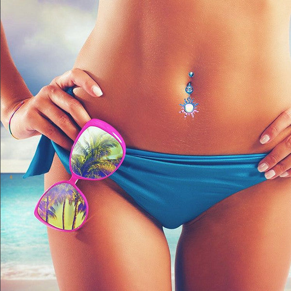 Dangling Belly Ring. Belly Bars Australia. Dye Run Sunburst Opal Belly Button Ring