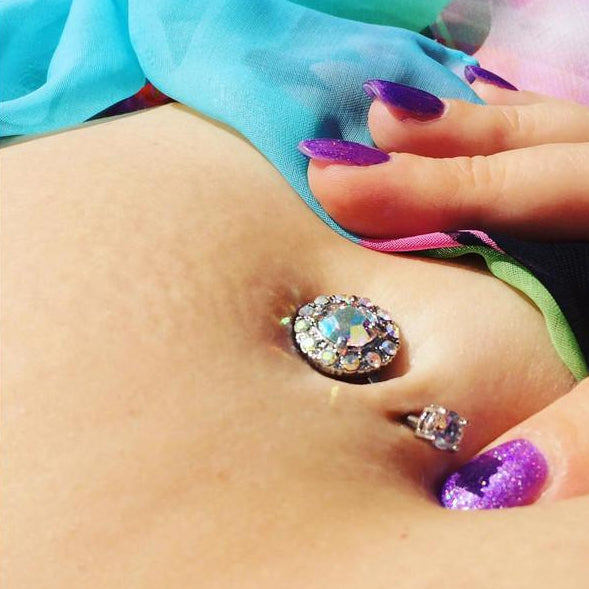 Fixed (non-dangle) Belly Bar. High End Belly Rings. Majestic Aurora Gem Navel Bar